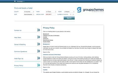Screenshot of Privacy Page groupschemebreaks.com - Ireland Hotel Deals| Groupscheme Breaks Privacy Policy - captured Jan. 3, 2017