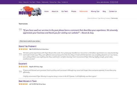 Screenshot of Testimonials Page tigermovinggreenville.com - Greenville Movers | Tiger Moving Company | Tiger Moving - Testimonials from past moves - captured Oct. 7, 2014