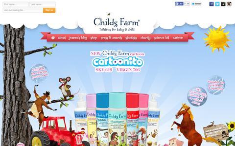 Screenshot of Home Page childsfarm.com - Childs Farm - captured Oct. 2, 2014