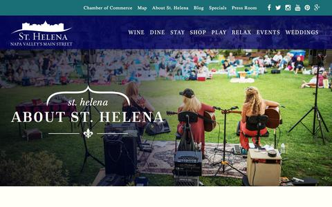 Screenshot of About Page sthelena.com - About St. Helena CA | Napa Valley's Main Street - captured Aug. 22, 2016