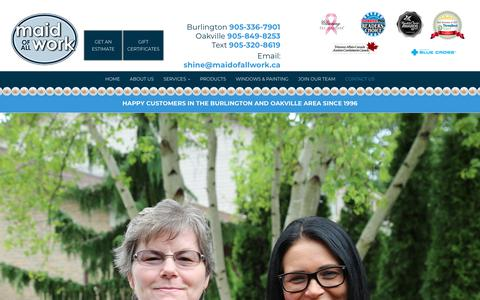 Screenshot of Contact Page maidofallwork.ca - Maid of All Work | Burlington | Contact Us - captured July 27, 2018