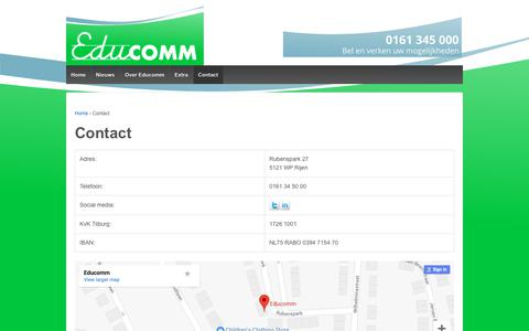 Screenshot of Contact Page educomm.nl - Contact – Educomm - captured Sept. 27, 2018