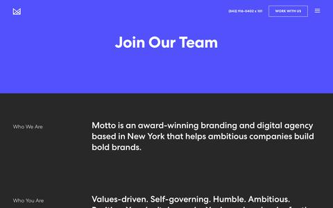 Screenshot of Jobs Page wearemotto.com - Careers | Creative Careers | Motto | Branding Agency - captured Feb. 15, 2019