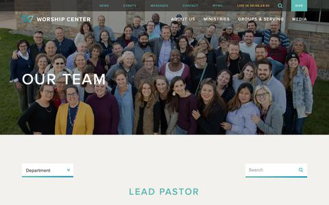 Screenshot of Team Page worshipcenter.org - Our Team | Worship Center - captured April 19, 2019