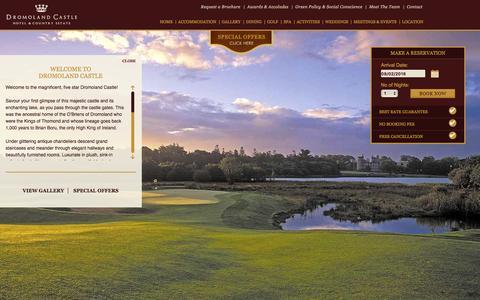 Screenshot of Home Page dromoland.ie - Dromoland Castle: 5 Star Hotels Ireland, Luxury Hotels Ireland - captured Feb. 9, 2016