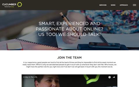 Screenshot of Jobs Page cucumber.co.nz - Cucumber - Join The Team - captured July 23, 2018