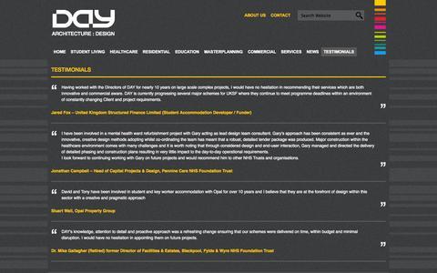 Screenshot of Testimonials Page day-architectural.com - Testimonials - DAY ARCHITECTURE : DESIGN - captured Oct. 5, 2014