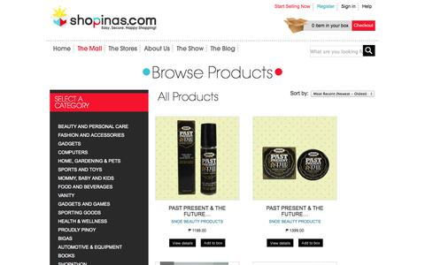Screenshot of Products Page shopinas.com - Shopinas - Products - captured Sept. 19, 2014