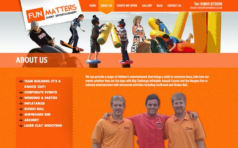 Screenshot of About Page funmatters.co.uk - About Us - Fun Matters - captured Sept. 30, 2014