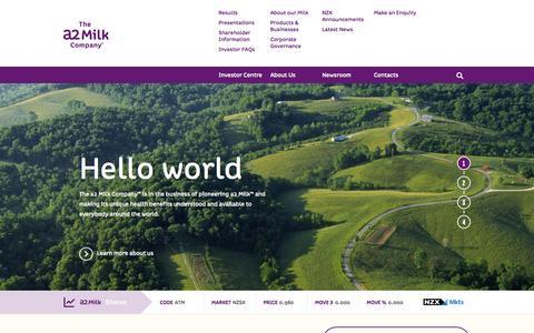 Screenshot of Home Page thea2milkcompany.com - The a2 Milk Company™| a2 Milk™| shareholders & investors - captured Jan. 23, 2015
