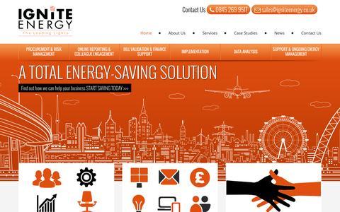 Screenshot of Home Page igniteenergy.co.uk - Energy Management Consultants | Ignite Energy - captured Sept. 12, 2015