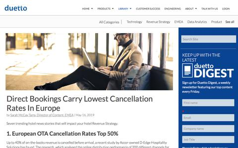 Screenshot of Pricing Page duettocloud.com - Direct Bookings Carry Lowest Cancellation Rates In Europe - captured Jan. 6, 2020