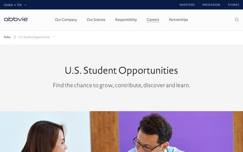Screenshot of Jobs Page abbvie.com - U.S. Student Opportunities – Roles – Careers | AbbVie - captured May 19, 2017