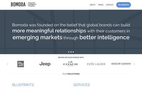 Screenshot of Home Page bomodagroup.com - Bomoda   Consumer Intelligence Company - captured Sept. 20, 2015