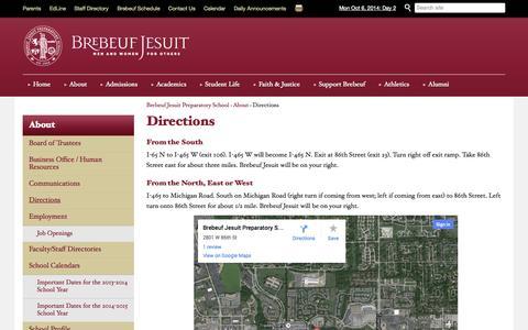 Screenshot of Maps & Directions Page brebeuf.org - Directions   Brebeuf Jesuit Preparatory School - captured Oct. 5, 2014