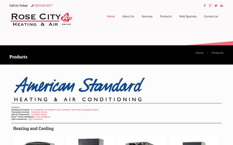 Screenshot of Products Page rosecityheating.com - Products | Air Conditioners | Heat Pumps | Heaters | HVAC | Installation | Repair | Portland, OR 97219 | Rose City Heating & Air - captured Dec. 1, 2016