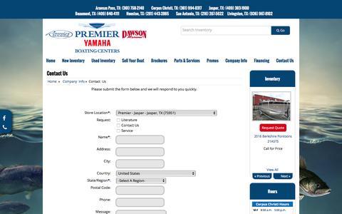 Screenshot of Contact Page premier-yamaha.com - Contact Us Premier Yamaha Boating Centers - captured June 16, 2016