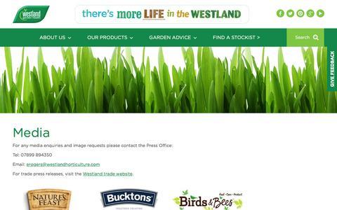Screenshot of Press Page gardenhealth.com - Media | Westland Garden Health - captured Nov. 29, 2016