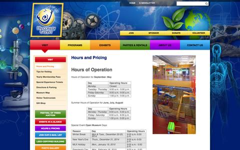 Screenshot of Hours Page discoverycenter.org - Discovery Center Springfield Missouri - captured Oct. 5, 2014