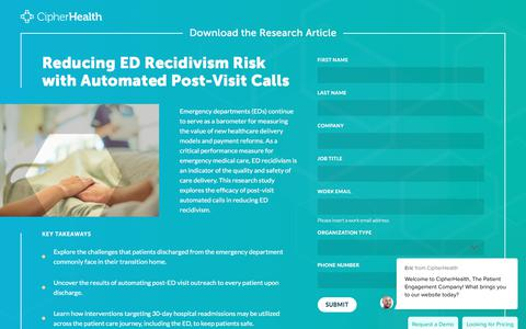 Screenshot of Landing Page cipherhealth.com - Reducing Emergency Department Recidivism Risk with Automated Post-Visit Calls - captured Jan. 1, 2020