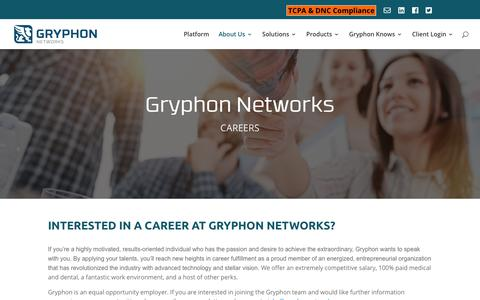 Screenshot of Jobs Page gryphonnetworks.com - Interested In A Career With Gryphon Networks A SaaS Company - captured Nov. 2, 2018