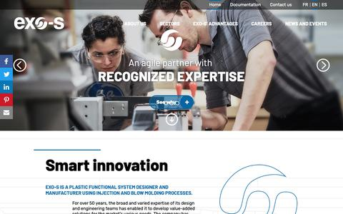 Screenshot of Home Page exo-s.com - Plastics Manufacturing Design and Engineering through Injection and Blow Molding Processes | Exo-s - captured Sept. 29, 2018