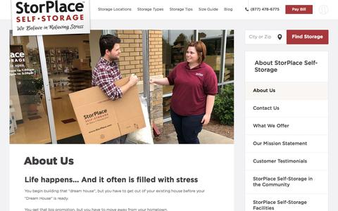 Screenshot of About Page storplaceselfstorage.com - About Us | StorPlace Self-Storage - captured Sept. 19, 2019