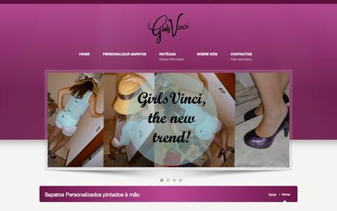 Screenshot of Home Page girlsvinci.com - GirlsVinci » Sapatos personalizados pintados à mão - captured Oct. 2, 2014