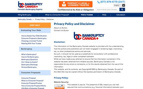 Screenshot of Privacy Page bankruptcycanada.com - Privacy Policy - Disclaimer - Bankruptcy Canada - captured Nov. 13, 2019
