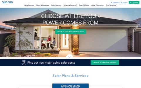 Screenshot of Home Page sunrun.com - #1 Residential Solar Panel Company | Home Battery - Sunrun - captured Feb. 19, 2020