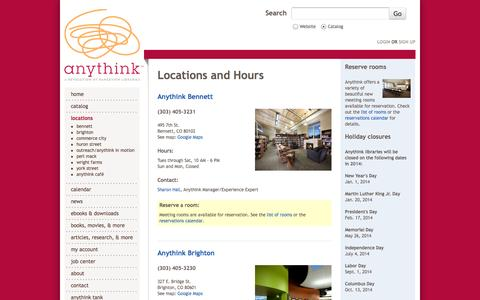 Screenshot of Locations Page anythinklibraries.org - Locations and Hours | anythink™ - captured Sept. 24, 2014