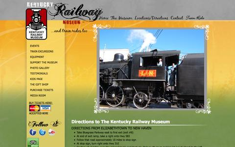 Screenshot of Maps & Directions Page kyrail.org - Kentucky Railway Museum - captured Oct. 8, 2014