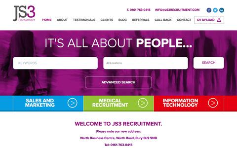 Screenshot of Home Page js3recruitment.com - JS3 Recruitment - Sales | Marketing | Medical | IT Jobs - captured July 27, 2018