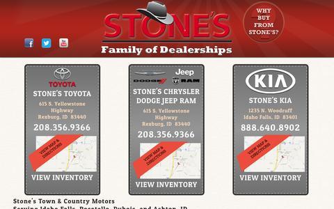 Screenshot of Home Page stonescars.com - Rexburg Toyota, Chrysler, Jeep, Dodge, Kia Dealership | Serving Idaho Falls, Pocatello, Dubois, Ashton, Idaho | Stones Town and Country Motors - captured Oct. 6, 2014