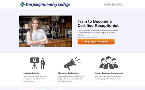 Screenshot of Landing Page sjvc.edu - Train to Become a Certified Receptionist - captured Oct. 23, 2017