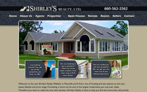 Screenshot of Home Page shirleysrealty.com - Shirley's Realty | Real Estate Agents Maryville Missouri - captured Oct. 7, 2014