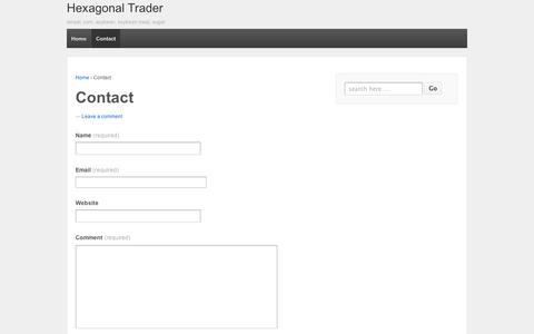 Screenshot of Contact Page wordpress.com - Contact | Hexagonal Trader - captured Sept. 12, 2014