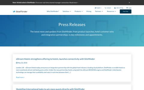 Screenshot of Press Page siteminder.com - Hospitality & Travel Industry News, Events, and Updates by SiteMinder - captured June 13, 2018