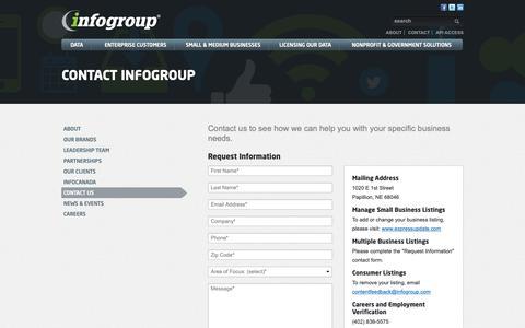 Screenshot of Contact Page infogroup.com - Contact   Infogroup - captured Feb. 7, 2019