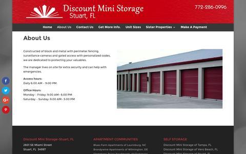 Screenshot of About Page dmsstuart.com - Mini Storage Units in Stuart FL   Self Storage Buildings for Rent - captured Jan. 3, 2017