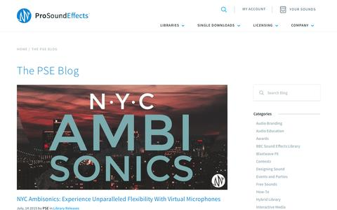 Screenshot of Blog prosoundeffects.com - The PSE Blog - Pro Sound Effects - captured July 24, 2015