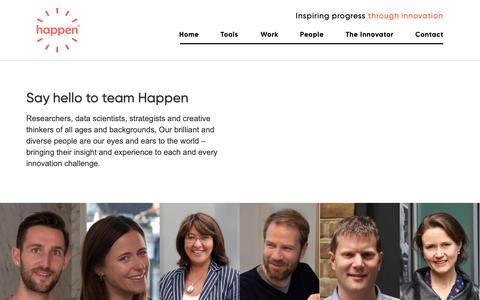 Screenshot of Team Page happen.com - Our People - Say hello to team Happen - captured Feb. 13, 2019