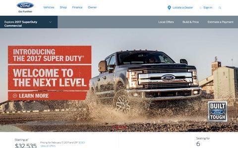 Screenshot of ford.com - 2017 Ford® Super Duty® Pickup Truck | The Strongest, Toughest, Smartest Super Duty Ever | Ford.com - captured Feb. 18, 2017