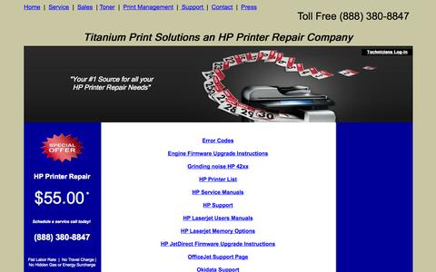 Screenshot of Support Page titaniumprint.com - Titanium Print Solutions Suport Page - captured Oct. 7, 2014