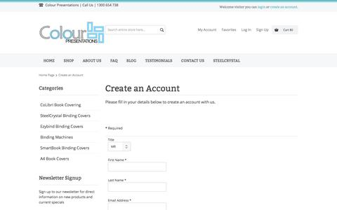 Screenshot of Signup Page colourpresentations.com - Create an Account - captured May 20, 2017