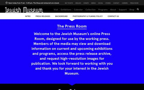 Screenshot of Press Page thejewishmuseum.org - The Jewish Museum - Press Room - captured Oct. 20, 2018