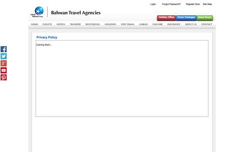Screenshot of Privacy Page bahwantravels.com - Privacy Policy - captured Oct. 5, 2014