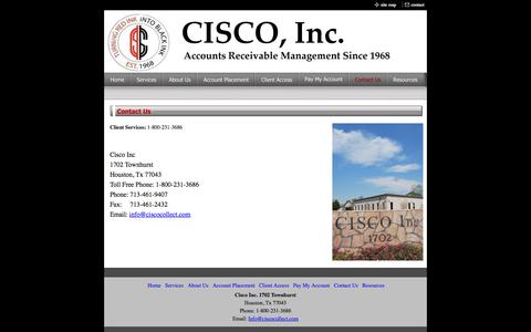 Screenshot of Contact Page ciscocollect.com - Contact Us - captured Oct. 1, 2014