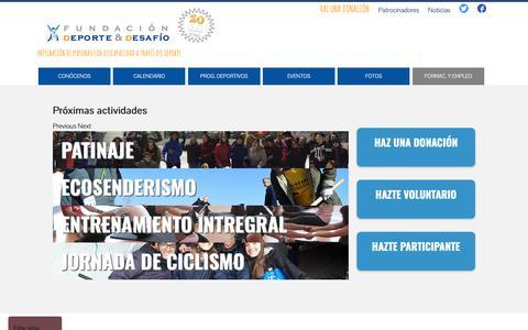 Screenshot of Home Page deporteydesafio.com - Fundación Deporte y Desafío - captured Oct. 11, 2018