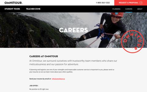 Screenshot of Jobs Page omnitour.ca - Careers   Omnitour - captured Sept. 21, 2018